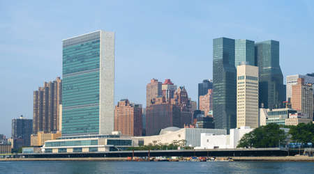 united nations: United Nations headquarters complex and US permanent mission to UN as seen from Roosevelt Island. - September 2, 2015, Four Freedoms Park, New York City, NY, USA
