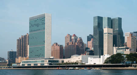 secretariat: United Nations headquarters complex and US permanent mission to UN as seen from Roosevelt Island.   - September 2, 2015, Four Freedoms Park, New York City, NY, USA