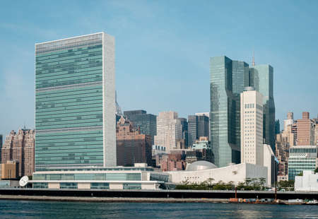 un: United Nations headquarters complex and US permanent mission to UN as seen from Roosevelt Island.  - September 2, 2015, Four Freedoms Park, New York City, NY, USA