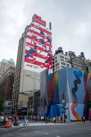 budweiser: Red,white and blue Budweiser Rio 2016 olympic games ad painted on a side of a building - July 31, 2016, 8th Avenue, New York City, NY, USA