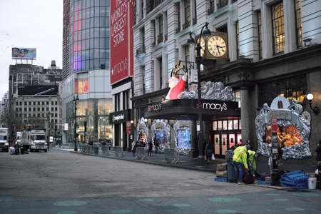 holiday display: Macys entrance with people watching holiday windows display on Thanksgiving day - November 24, 2016 Herald Square, New York City, NY, USA Editorial