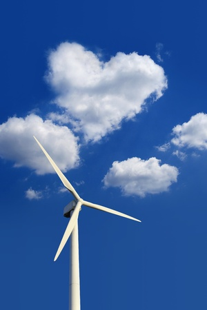 nonpolluting: Ecofriendly wind turbine and heart-shaped cloud