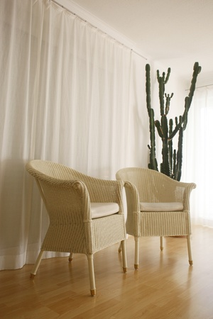 Wicker chairs indoors photo