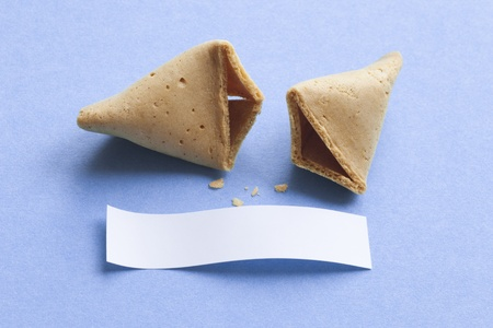 fortune telling: Broken fortune cookie with blank message Stock Photo