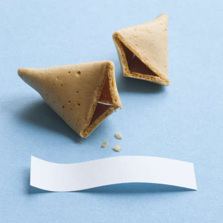 Broken fortune cookie with blank message photo