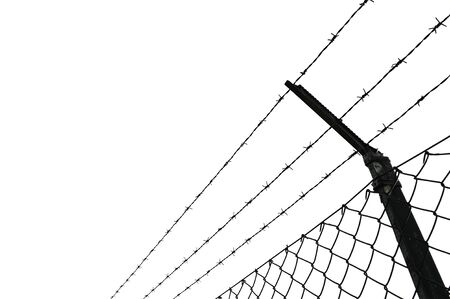 chainlink fence: Barbed wire fence with white background