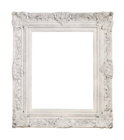 White antique picture frame isolated photo
