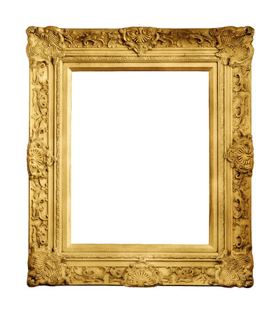 Gold vintage frame isolated on white photo