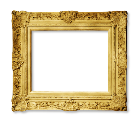 Gold vintage frame isolated on white