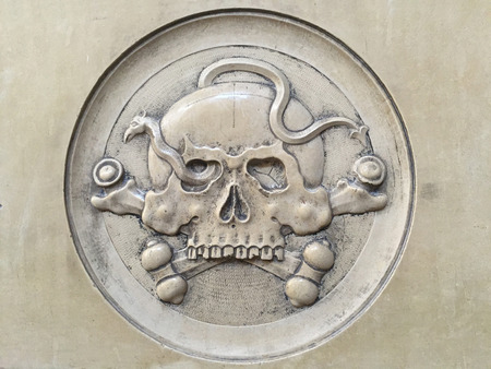 the old church: Skull relief in an old church