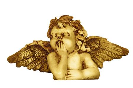 cupido: Decorative Christmas angel head figurine isolated on white background