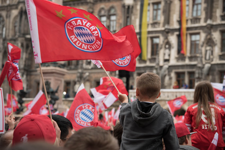 MUNICH GERMANY  MAY 24 2015: FC Bayern fans celebrating for winning the Bundesliga title Редакционное