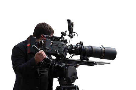 Isolated professional camera man filming a footage with the advanced filming set