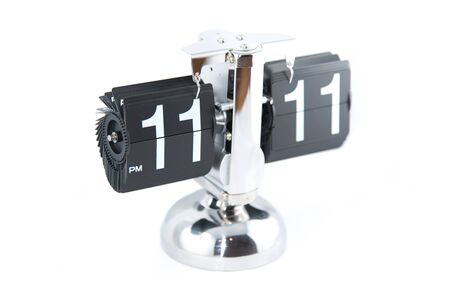11 number: Isolated vintage flip clock on white background
