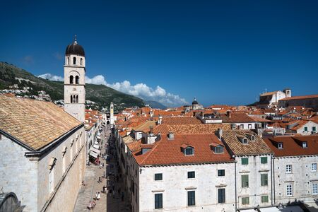 dalmatia: Aerial view on the old town of Dubrovnik, Croatia from the city wall