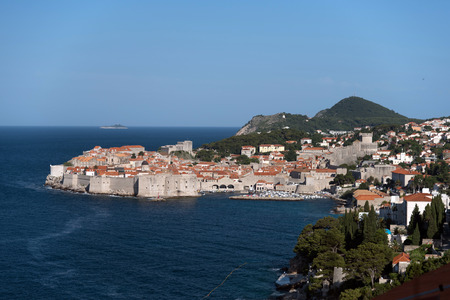 srd: Aerial view of Dubrovnik old town Stock Photo