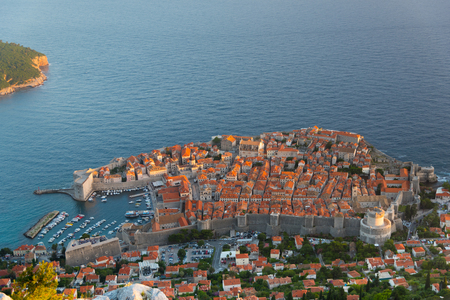 srd: View of Dubrovnik old town from Srd mountain during sunset