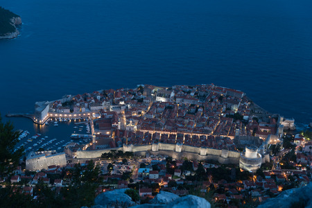 srd: View of Dubrovnik old town from Srd mountain at night Stock Photo