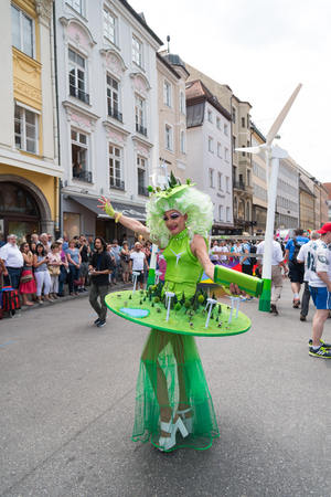 christopher: MUNICH, GERMANY - 9 JULY 2016: Christopher Street Day - Woman in fancy costume