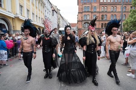 christopher: MUNICH, GERMANY - 9 JULY 2016: Christopher Street Day - a part of the parade in costumes punk Editorial