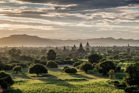 View of Bagan plains with pagodas during sunset, Myanmar