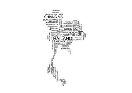 Typography map of Thailand with its provinces in English Positioned based on approximate geographical locations