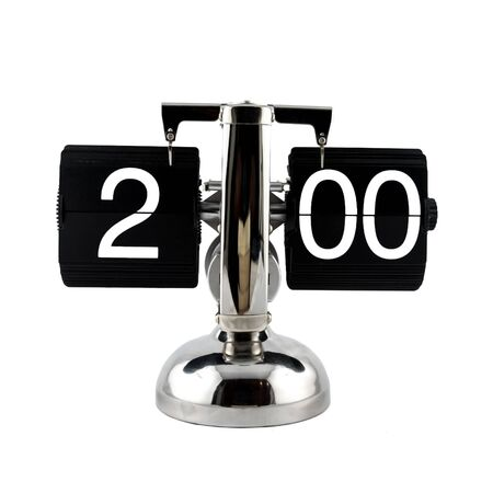o'clock: Isolated vintage flip clock on white background at two oclock