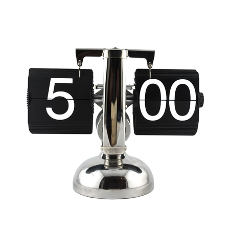 five o'clock: Isolated vintage flip clock on white background at five oclock