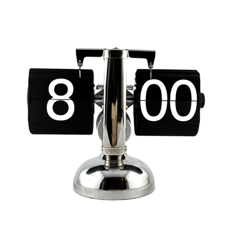 o'clock: Isolated vintage flip clock on white background at eight oclock