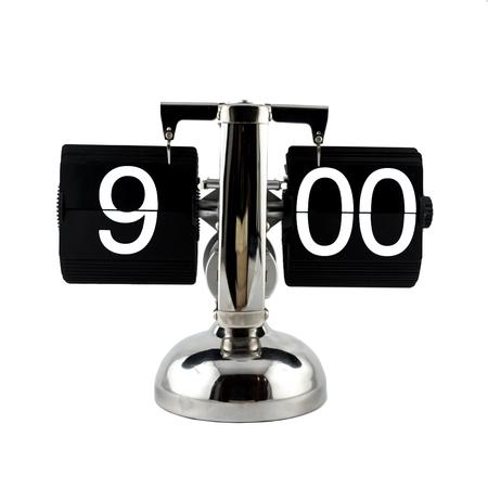 o'clock: Isolated vintage flip clock on white background at nine oclock Stock Photo