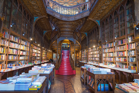 PORTO, PORTUGAL - 12 March 2017: Livraria Lello, one of the oldest bookstores in Portugal