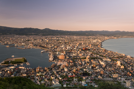 Aerial view of Hakodate during sunset from Mount Hakodate, Hokkaido Prefecture, Japan