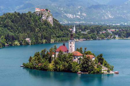 Aerial view of Lake Bled, Slovenia, with the pilgrimage church of the Assumption of Maria, taken from Osojnica hill