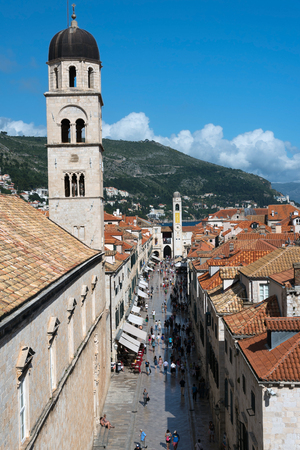 Aerial view of the old town of Dubrovnik, Croatia from the city wall