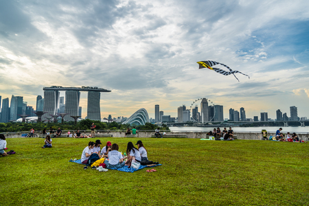 People enjoy their weekend with different activities at the rooftop of Marina barrage