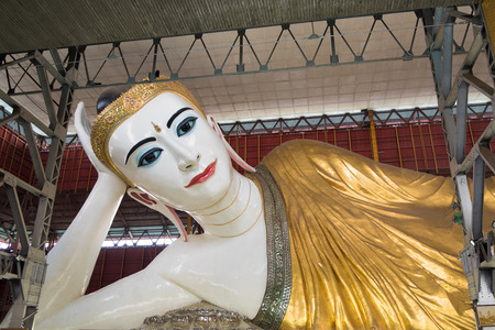 Reclining Buddha image at Chaukhtatgyi temple, Yangon, Myanmar. This is one of the largest reclining Buddha images in Myanmar.