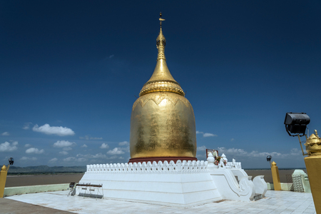 Bupaya pagoda is a notable bell-shaped dome pagoda located on the right bank of Irrawaddy river, Bagan, Myanmar