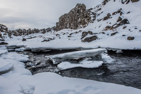 Dramatic winter background with a small river Stock Photo