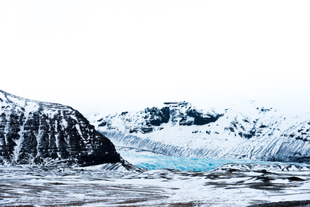 Glaciers and mountain with high key lighting Stock Photo