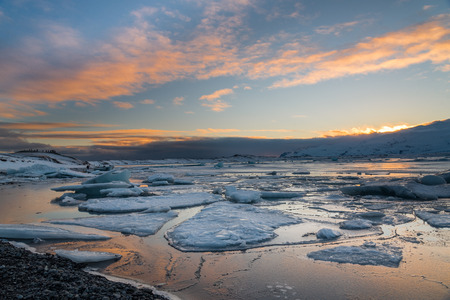 Ices in Jokulsarlon, the biggest glacier lagoon in Iceland