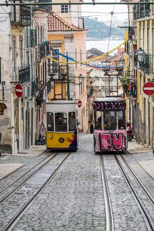 Ascensor da Bica (The Bica Funicular) or Elevador da Bica (Bica lift), Lisbon, Portugal Editorial