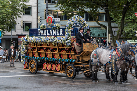 MUNICH, GERMANY - 16 OCTOBER 2017: Beer wagon from Paulaner in tent owners and breweries parade at the beginning of Oktoberfest Editorial
