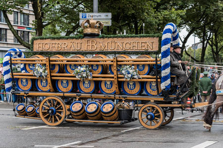 MUNICH, GERMANY - 16 OCTOBER 2017: Beer wagon from Hofbräuhaus at the beginning of Oktoberfest Editorial