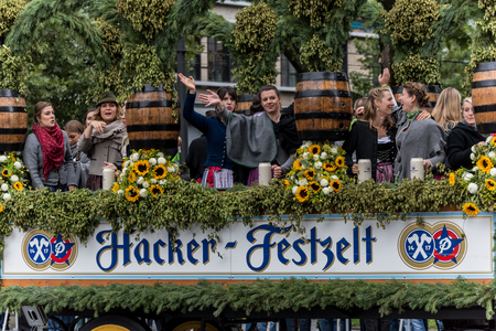MUNICH, GERMANY - 16 OCTOBER 2017: Tent owners and breweries parade at the beginning of Oktoberfest - Hacker Pschorr parade Editorial