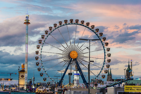 MUNICH, GERMANY - 16 OCTOBER 2017: View of Oktoberfest during sunset