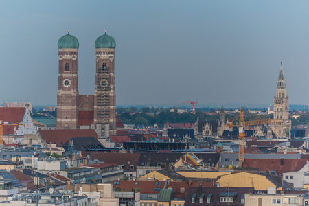 Aerial view of old town area in Munich with famous landmarks, such as Frauenkirche and the new city hall Stok Fotoğraf