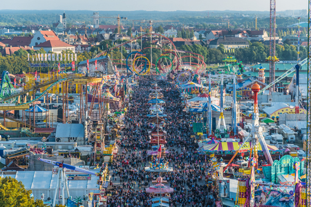 Aerial view of the crowds in Octoberfest from St. Paul Cathedral