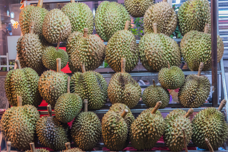 Durians, king of fruits at thai market