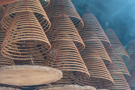 Incense spirals in Hong Kong temple