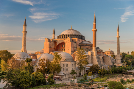 Hagia Sophia or Ayasofya (Turkish), Istanbul, Turkey. It is the former Greek Orthodox Christian patriarchal cathedral, later an Ottoman imperial mosque and now a museum. It is one of seven wonders. Stock Photo